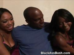 Black Girls With Big Ghetto Booties Suck Dick Together In Threesome