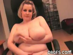 Chubby girlfriend with huge boobs shows them off on webcam