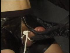 Blonde slave is abused and fucked while another slave is abused