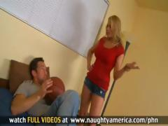 Blonde Alanah Rae fucks her boyfriend's son and fucks hard