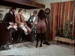 Vintage movie with this ebony babe getting gangbanged hard