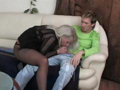 Blonde gets down on this hard cock before he fucks her hard