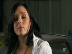Cute brunette Angel Summers sucks mechanic and then gets ass fucked