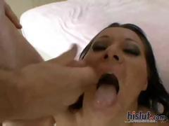Busty brunette Sandra Romain is back with two hard cocks to fuck