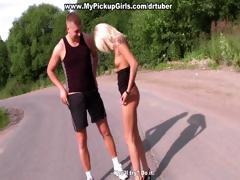 Russian blonde girl tricked into outoor sex