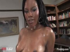 Ebony gets all oiled up and joins in some group sex and sucks
