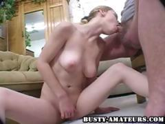 Busty blonde Candace sucks her man's cock until he explodes