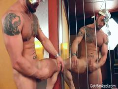 Muscle stud pumping his penis part5