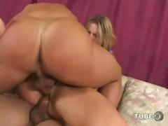 Busty blonde babe is in her first porn scene and sucks and fucks