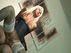 Blonde Jessica sucks and then rides that hard cock in her ass