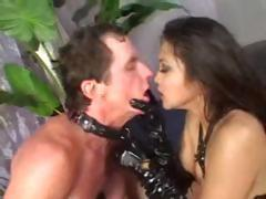 Mika Tan is a hot brunette getting fucked by two horny dudes