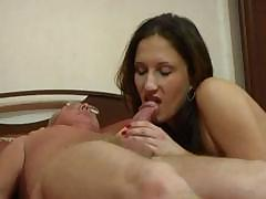Babes lays on the bed for old guy to fuck her and eat her