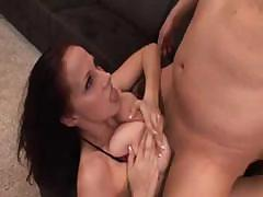 Horny slut with big tits sucks and gets fucked hard on bed