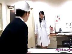Shy Japanese nurse is getting her tits rubbed and sucked by doctor