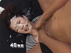 Crazy Japanese broad takes on multiple cocks and gets bukkake