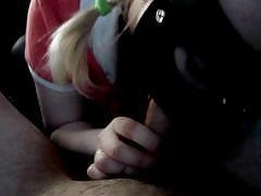 Blonde pigtailed girl with a mask gives a good POV blowjob