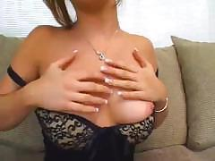 Brunette takes a cock in the mouth and in the ass on couch