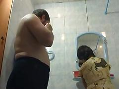 Girl Is Taking A Hot Shower Together With Dad