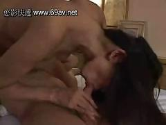 Asian sucks a hard cock and gets toys and the cock in her pussy