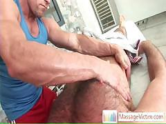Bear getting his hairy body massaged by massagevictim