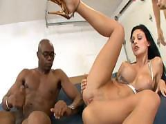 Busty slut Aletta Ocean takes on a couple of hard cocks in the ass