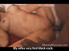 Swinger wifes first time with a black man and he cums inside her
