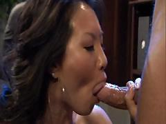 Asian sec stays in the office late to get dicked by her boss