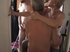 Good old granny gets intensive double penetration from two masked guys