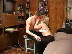 Russian mature female fucks her son`s best friend`s huge prick