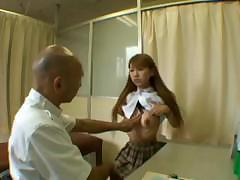 Flat-chested Asian schoolgirl is glad to receive some good spanking before fuck