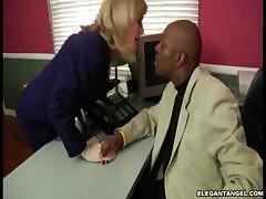 Black prince slid down female`s panty, rubbed her clit as she squirmed with pleasure