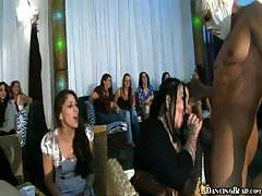 Hot and shameless party girls get it on with a stripper guy