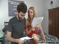 James is helping Brynn study her lines for a very important sexual role and when the script gets too hot to handle they both get down and dirty like the script requires.