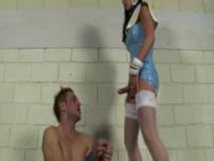 Tied Guy Giving Head To Tranny In Latex Dress