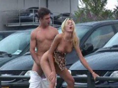 Public Exhibitionist Sex At A Car Dealership
