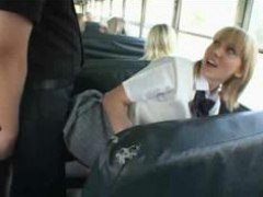 Blonde School Girl And Asian Guy In Bus