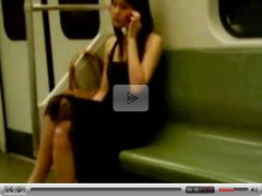 Asian lesbian couple make out in metro