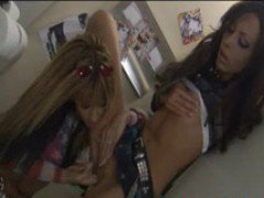Keri Sable and Kirsten horny lesbians play with toys