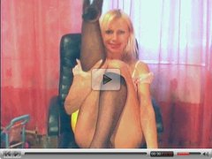 Sexy blond cam girl with dildo