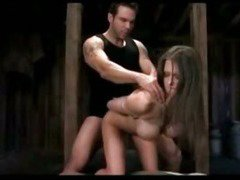Busty Girl With Tied Arms Getting Her Pussy Fucked Licked 69 On A Bale In The Dungeon