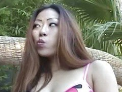 My Asian wife suck me near the pool