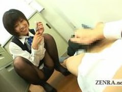 Japanese office lady teases CFNM masturbating coworker