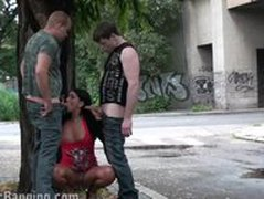 Gangbang  a gangbang threesome in the street PART 1