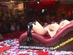 Slutty stripper gives a guy a lap dance