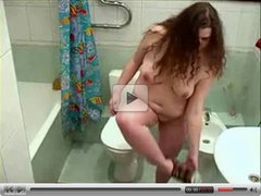Just my chubby girlfriend totally nude in bath room. Hidden cam