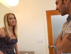 Horny Blonde Girl Cheats On BF In Bathroom