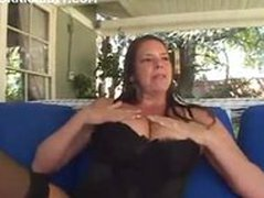 busty MILF in stockings sucking and fucking