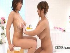 Plump Japan lesbian soapland with busty bigtit bathing