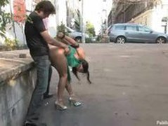 Long legged  busty Euro girl fucked in public