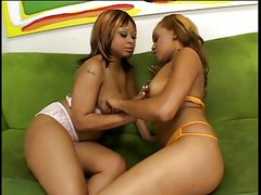 Beauty black girls massage each others breast while french kissing